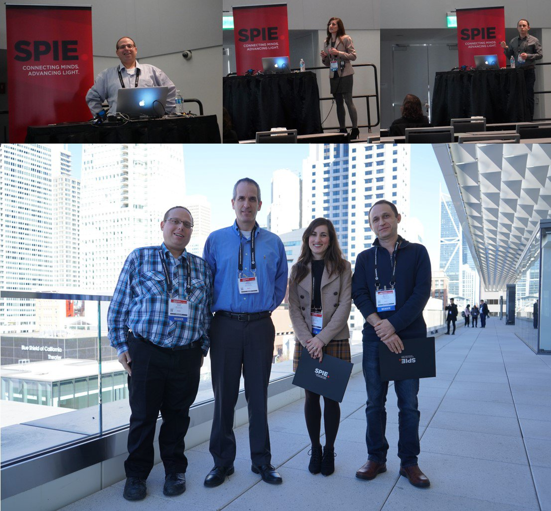 Our Ph.D students, Shira Roth, Michael Margulis and Shmuel Burg, have presented their recent work at the Magnetism session of BIOS conference in SPIE 2020 (The International Society for Optics and Photonics) convention, San Francisco, United States. Also, our principal investigator, Dr. Amos Danielli, has served as a joint chairman of the BIOS conference.