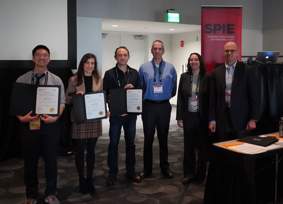 Congratulations and kudos to our Ph.D  students, Michael Margulis and Shira Roth, for their both winning the  best student talk award at the BIOS conference in SPIE 2020 (The International Society for Optics and Photonics) convention, San Francisco, United States!
